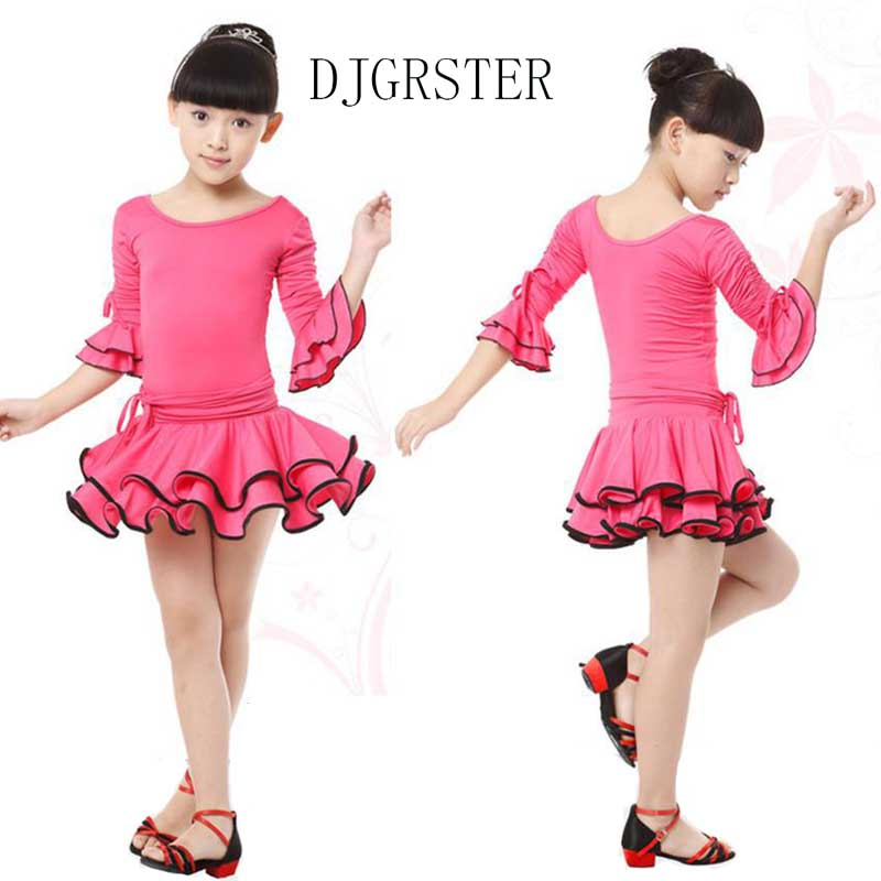 Girls Long Sleeves Latin Dance Dress Childrens Fancy Dress Kids