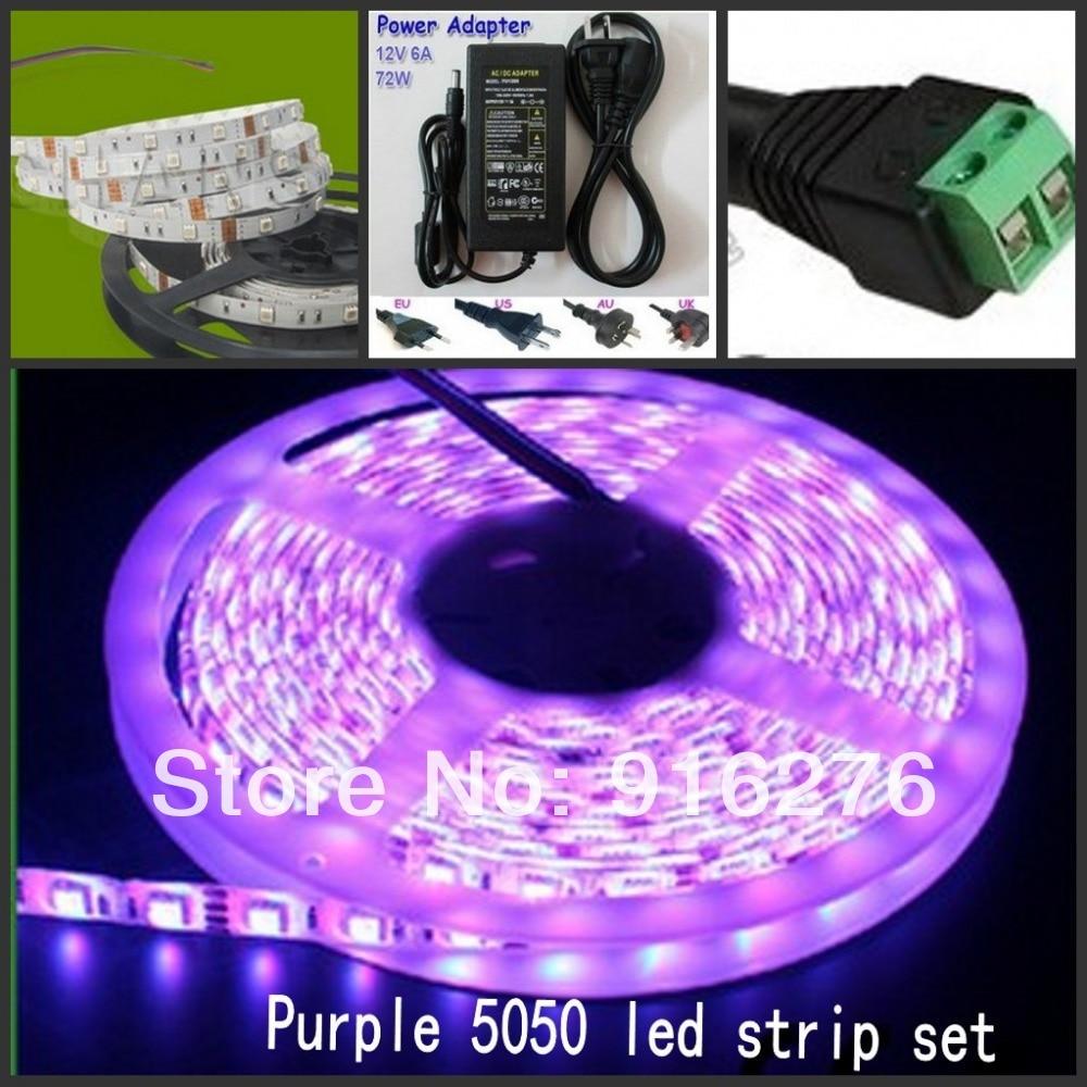 ФОТО 16.4ft 5M UV Ultraviolet 5050 SMD Purple 300 LED Fle Strip Light waterproof IP65 12V + 6A 72W power supply + DC plug