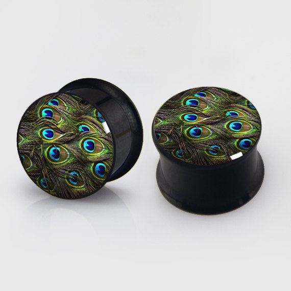 2 pieces Peacock feather plugs anodized black ear plug gauges steel flesh tunnel earlets body piercing jewelry 1 pair