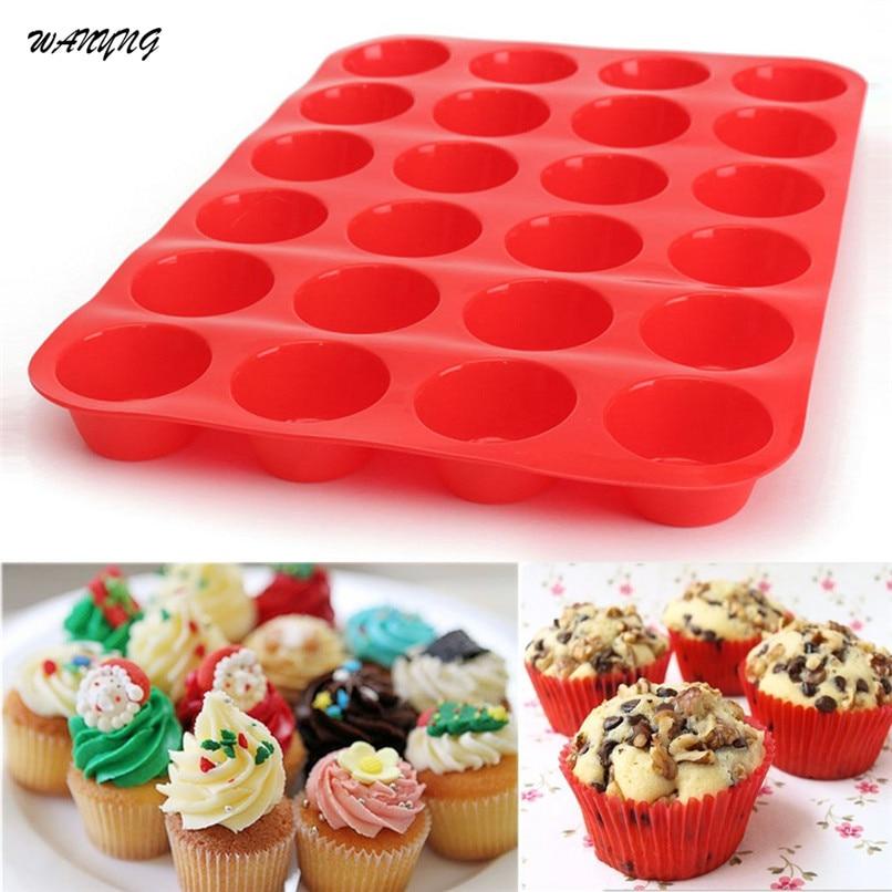 Mini Muffin Cup 24 Hohlraum Silikon Seife Cookies Cupcake Backformen Pan Tray Mould Startseite DIY Kuchen Werkzeugform 34*22,8*2 cm Dropship3D24