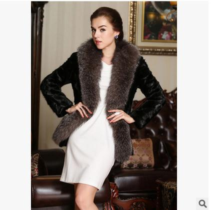 2017 S 5Xl Mulheres Jaquetas Grande Gola de Pele de Longa Seção Coreano  Plus Size Feminina Casual Quente Fur Casacos Sobretudos roupas J1415 35a3e4ead3725