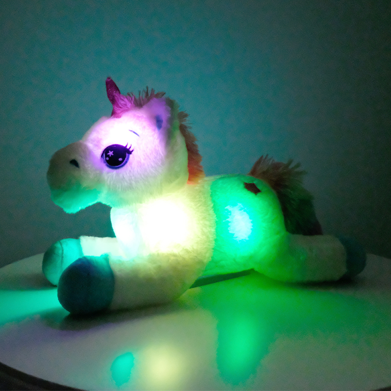 40cm Colorful LED <font><b>Unicorn</b></font> Plush <font><b>Toys</b></font> Glowing Stuffed Animals Horse <font><b>Toy</b></font> Cute Light Up Pony Doll Kids <font><b>Girls</b></font> Xmas Birthday Gifts image
