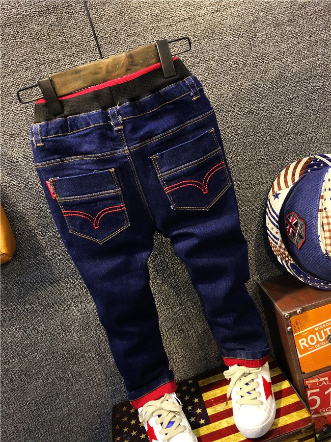 children boy autumn winter fleece warm jeans pants (1)