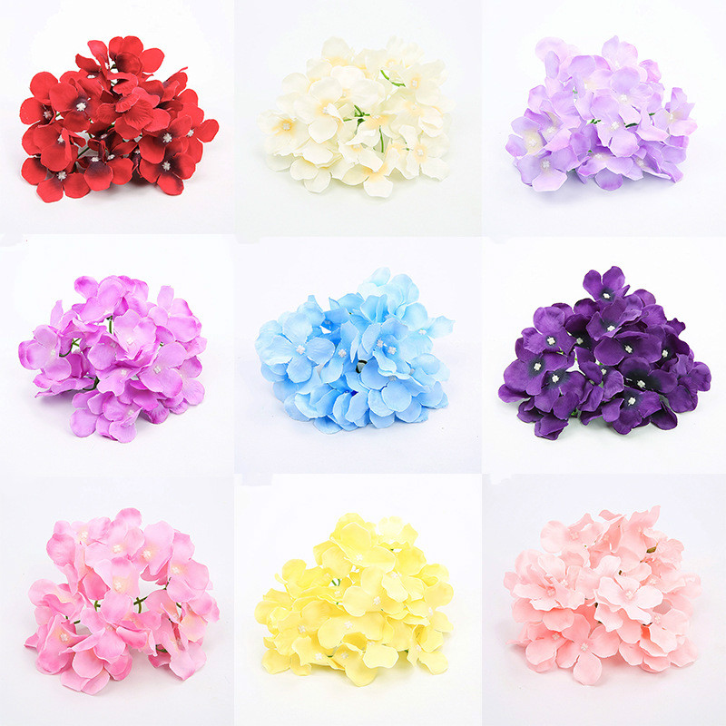 100pcs lot Vivid Big Hydrangea Flower Heads Silk Artificial Flowers Amazing Wedding Home Party Backdrop Diy