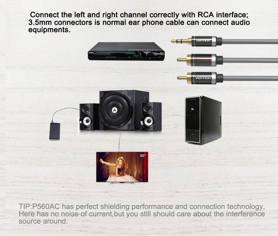 Vention RCA Audio Cable 3.5mm Jack to 2 RCA AUX Cable 2RCA Cable For Home Theater iPhone Headphone DVD 1m 2m 3m 5m 6