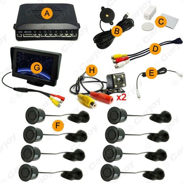 "Car 10colors 4.3"" LCD Monitor 8-Sensor Parking Sensor 2x 4-LED Camera Dual Visual Rearview Video Parking System #CA1779"