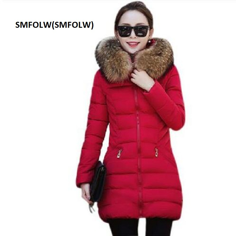 SMFOLW  Winter Women Jacket Fashion Long Thick Warm  Cotton Jacket Women High Quality Fake Fur Collar Slim Coat Overcoat Parka winter women fashion long thick warm 100%cotton filling jacket women plus size fur raccoon collar slim coat overcoat parka