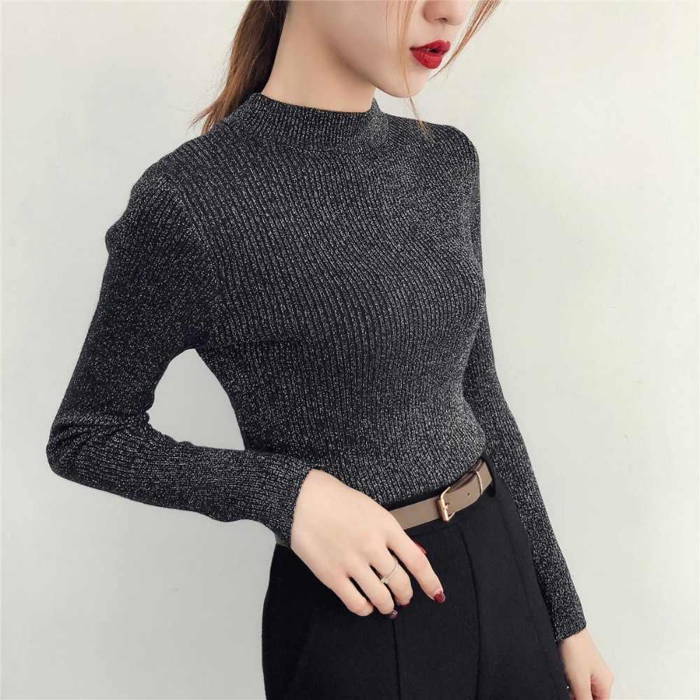 Nouveau 2019 automne et hiver mince demi-cou pull femme brillant soie tricoté pull à manches longues fond pull pulls femmes