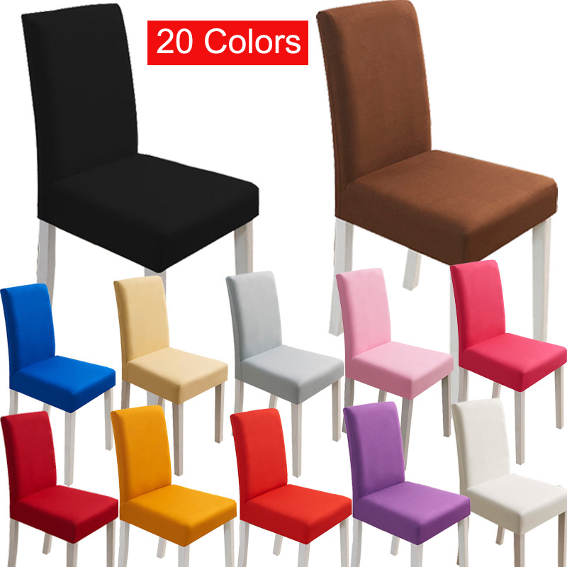 Solid Color Chair Cover Spandex Stretch Elastic Slipcovers Chair Covers White For Dining Room Wedding Banquet Hotel Home Decor