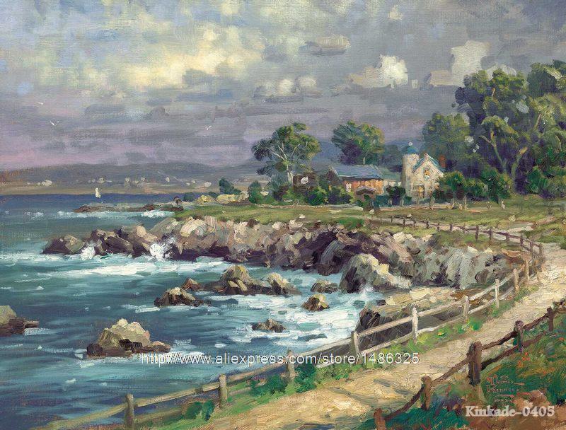 Landscape oil painting on Canvas Prints Thomas Kinkade Seaside ...