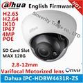 H2.65 ipc-hdbw4431r-zs dahua ip cámara 2.8mm ~ 12mm varifocal poe lente motorizado 4mp ir50m con ranura para tarjeta sd cámara de red