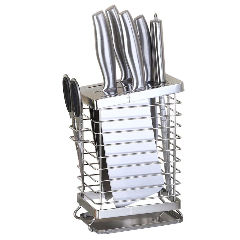 Kitchen Knife Block Storage Stand 304 Stainless Steel Metal Strip Knife Holder Wall Mounted Rack Scissors Fork Organizer Tools