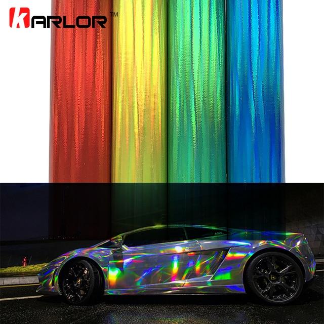 30*100cm Laser Plating Vinyl Holographic Auto Car Wrap Film Rainbow Car Body Decoration Chrome Sticker Sheet Decal Car-styling