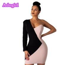 Женское облегающее мини платье на одно плечо с длинным рукавом