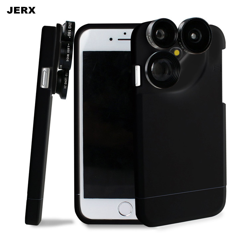 2 in 1 Phone Case Lens For Iphone 6 6S 7 Plus 4 in 1 Glass Fisheye Wide Angle Macro 2X Zoom Telephoto Phone lens Kit Back Cover