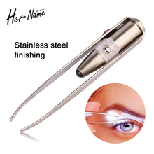 Hot sale LED Light Stainless Steel Tweezers Safe Anti-static Nail Face eyelashes Tweezer Eyelash Eyebrow Remover Makeup tools