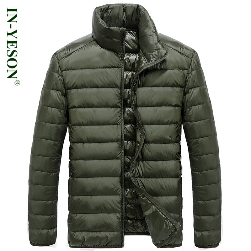 IN-YESON Brand Ultra Light Duck   Down     Coat   Men Fashion Simple Design Stand Collar Autumn Winter White   Down   Jacket Men Parkas Big