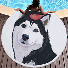 купить Cute Animal Print Round Beach Towel Microfiber Tassel Large Bath Towel Swimming Outdoor Sport Yoga Casual Blanket Beach Mat дешево
