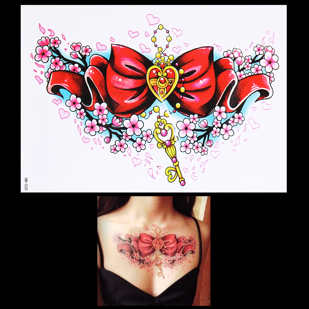 1pc Beautiful Fake 3D Decal Temporary Tattoo for Women HB520 Bow Tie Key Design Tattoo Sticker Body Chest Waist Art Makeup Tools