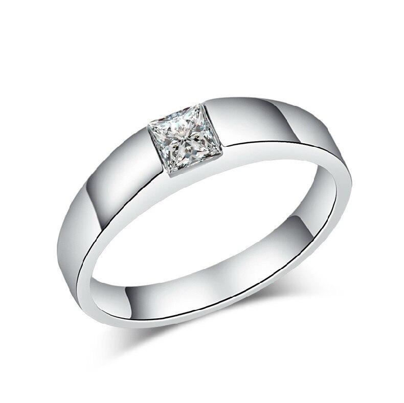 THREEMAN, однотонное белое золото, 0.5CT, квадратная огранка, пасьянс, принцесса, Engagment, синтетические бриллианты, обручальное кольцо для женщин, белое золото, ювелирные изделия
