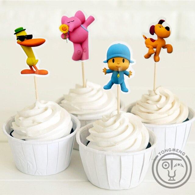 72 pcs Dos Desenhos Animados Do Bebê Let't ir Pocoyo Elly pato Loula Coleções cupcake toppers picks decoração do partido para As Crianças aniversário suprimentos