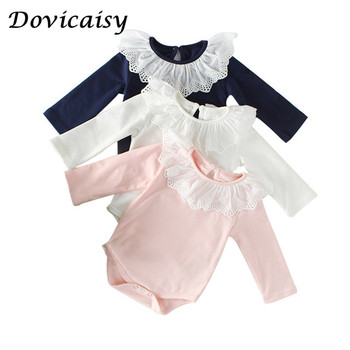 Cute Lovely Baby Rompers Lotus Leaf Turn Down Collar Baby Girls Rompers Boys Baby Girls long sleeve Rompers Cotton Summer фото