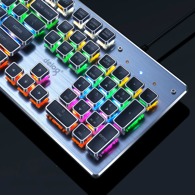 New Mechanical Keyboard USB Wired Anti-ghosting Blue Switch Metal Panel Colorful Gaming Backlit Keyboard 2