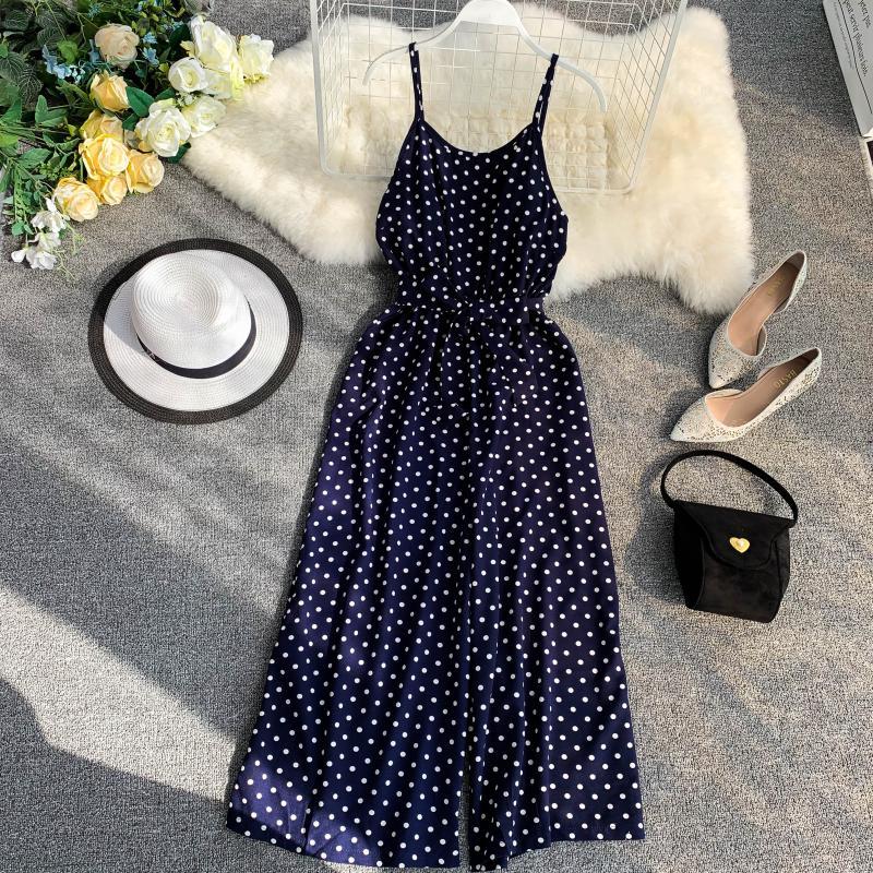 Holiday Retro Dot Print V Collar Sleeveless High Waist Broad-legged Overalls Beach Rompers Womens Jumpsuit E521 4