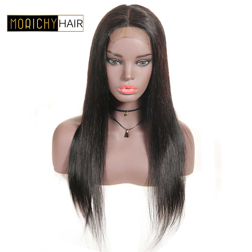 Morichy 4x4 Lace Closure Straight Human Hair Wigs For Women Brazilian Non-Remy Hair Lace Wig Natural Hairline Middle Part 150%