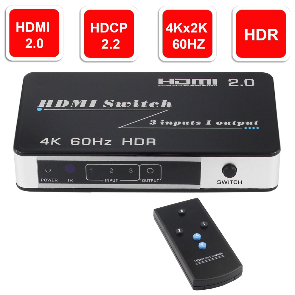 New HDR HDMI 2 0 Switch HDCP 2 2 4K HDMI Switcher HDMI 5 3 in 1 out 4Kx2K 60Hz Switch With Auto IR for PS4 pro DVD Laptop PC in HDMI Cables from Consumer Electronics