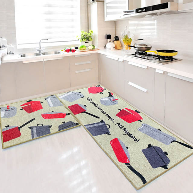 Us 14 32 20 Off Blue Red Green 2 Piece Sets Rubber Backing Non Slip Kitchen Rug And Carpets Animal Mosaic Small Lattice Design Bathroom Rugs Mat In