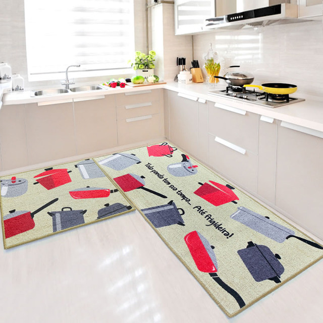 Blue Red Green 2 Piece Sets Rubber Backing Non Slip Kitchen Rug And Carpets Animal Mosaic Small Lattice Design Bathroom Rugs Mat
