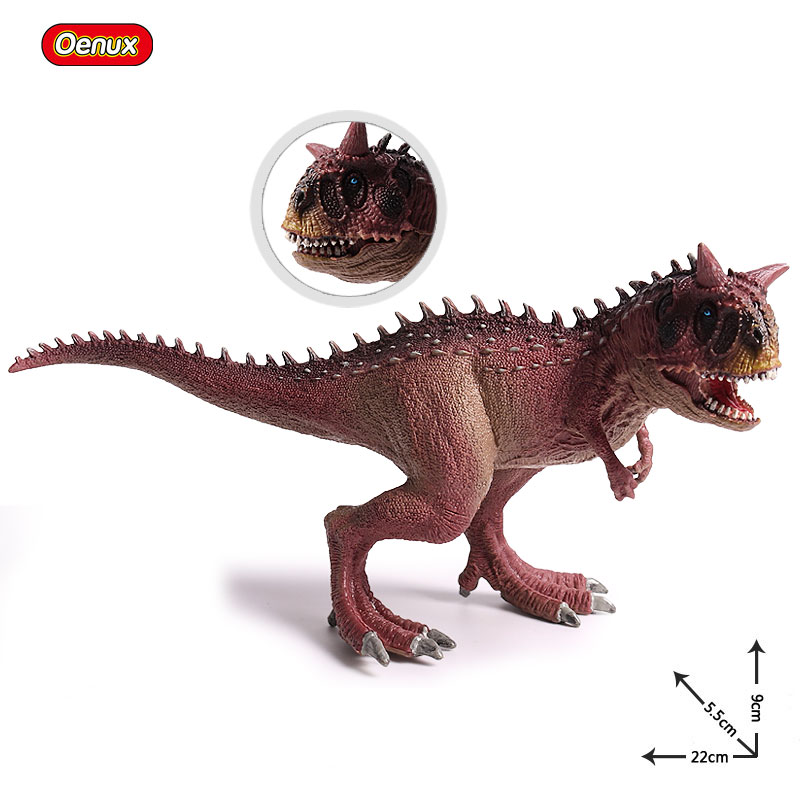 Oenux Jurassic Carnivorous Carnotaurus Dinosaur Mouth Can Open Model Toy Jurassic Dinosaurs Action Figure Brinquedo For Boy Gift dinosaurs carnotaurus classic toys for boys children toy animal model