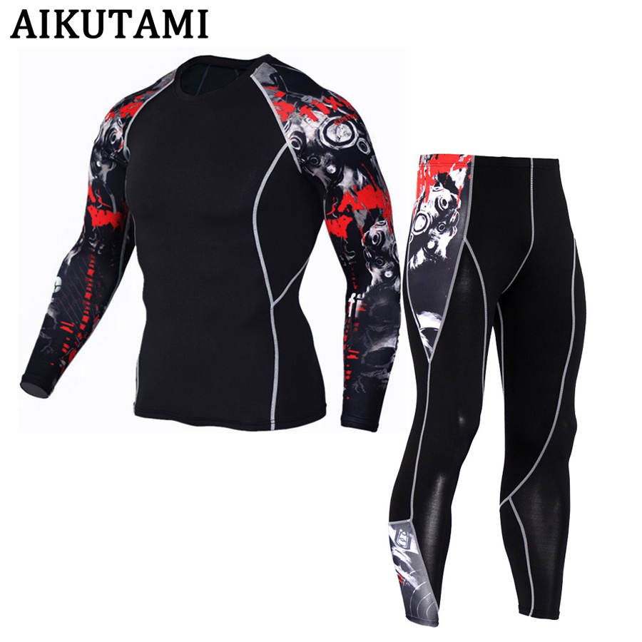 Compression Sport Suit For Men Mma Rashguard Muay Thai Kickboxing T Shirt Mma Jerseys+Pants Underwear Workout Sports Tracksuit