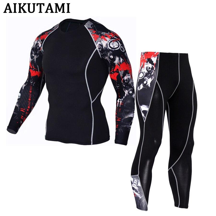 Terno do esporte da compressão para os homens mma rashguard muay thai kickboxing t camisa mma jerseys + calças roupa interior treino esportes agasalho