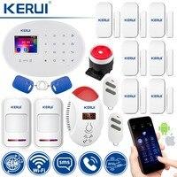 KERUI W20 умный дом сигнализация wifi GSM RFID карта охранная сигнализация с 2,4 дюймов TFT сенсорная панель детектор движения сигнализации