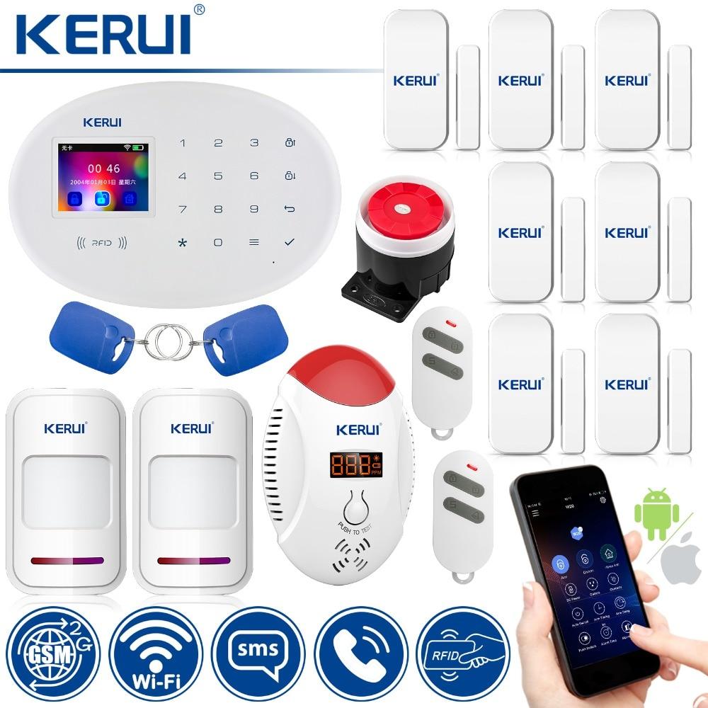 KERUI W20 D'alarme Maison Intelligente wi-fi gsm Carte RFID système d'alarme de sécurité Avec 2.4 pouces TFT écran tactile détecteur de mouvement Alarme