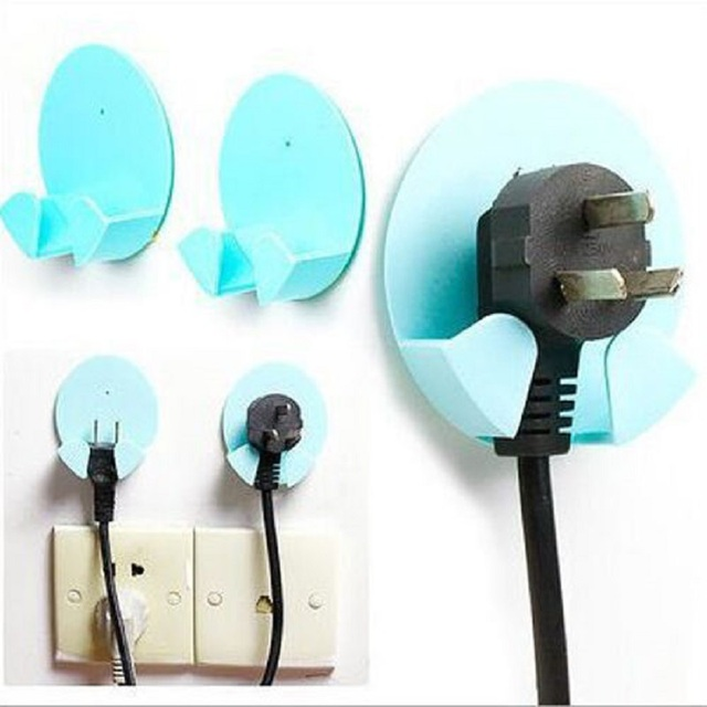 Pretty Plastic Power Wire Socket Storage Rack Wall Hang Sticky ...
