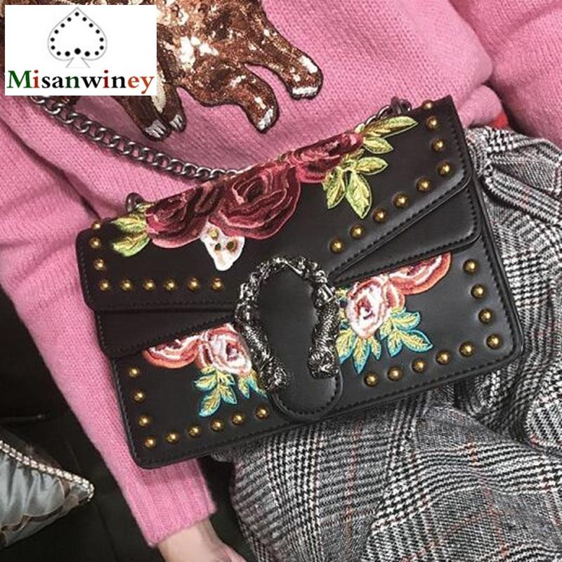 Luxury Brand Rivets Women Flowers Embroidery Leather Handbag Chain Shoulder Messenger Bags Famous Designer Bag Black White Totes цена и фото