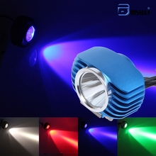 BOSMAA LED Car External Headlight 10W Blue Red High Low Motorcycle DRL Headlamp Spotlight Drive Fog