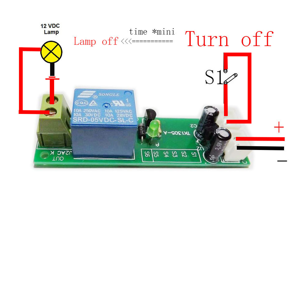 Ws16 Dc 12v 30a Multifunction Adjustable Delay Timing Turn On Off The Polarity Control Relay Is Switched When Q1 Covered By Switch Timer Time 10s 30s