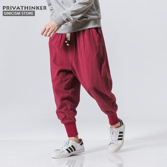 Sincism Store Men Harem Pants Japanese Casual Cotton Linen Trouser Man Jogger Pants Chinese Baggy Pants 24