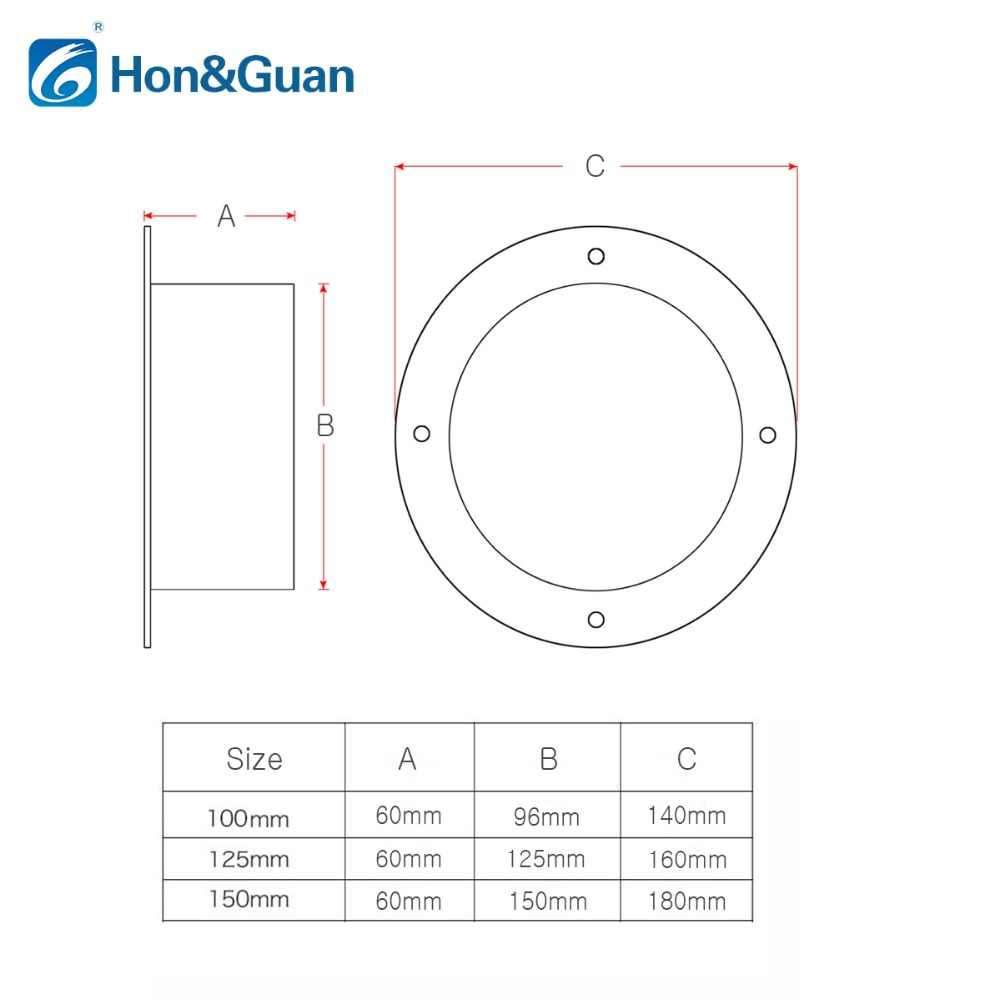 Hon&Guan 4~6 inch ABS High Quality Straight Pipe Flange Ventilation Ducting  Connector