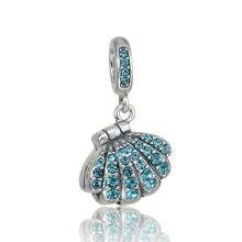 Se adapta a Chamilia pulseras del encanto 100% granos de plata 925 cuelgue los pendientes cristalinos Sheel con las perlas Serling-Silver-Jewelry encanto de la joyería DIY