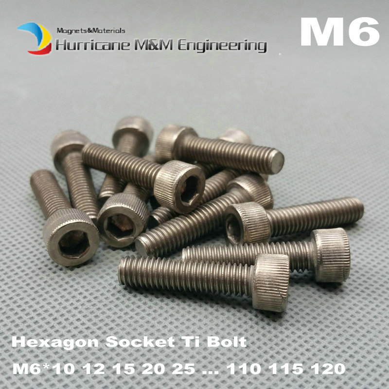 12 pcs M6 Ti Bolt M6x30 all lengths Titanium bolt original Ti color not polished Hexagon Socket titanium screws Ti fastener