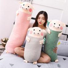 70/90/100cm Soft Sleeping Pig Plush Toy Stuffed Animal Pig Long Pillow For Kids Appease Toy Baby's Room Decoration стоимость