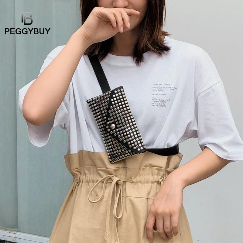 Belt Bag Waist Bag Round Fanny Pack Rivet Flip Leather Shoulder Clutch Women Waist Pack Chest Crossbody Bag Dropshipping