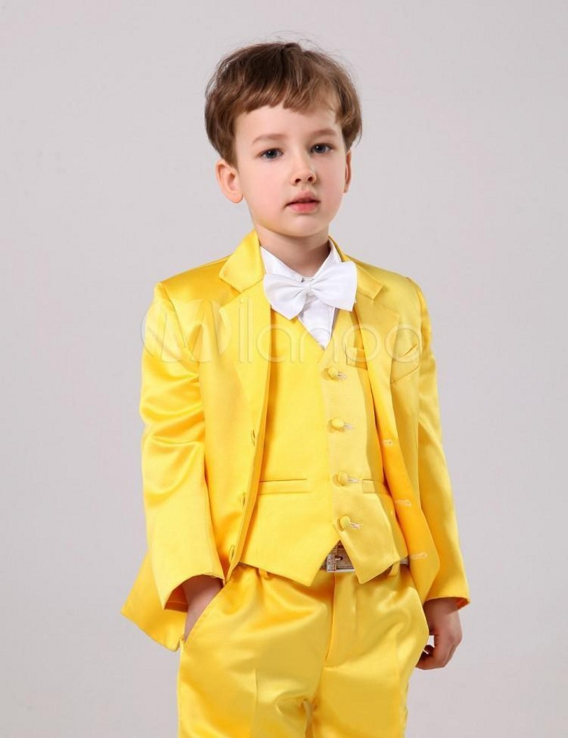 Brand Boy Tuxedos Notch Lapel Children Suit Hot Pink