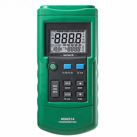 Mastech MS6514 Digital Thermocouple Thermometer Due Channels USB Port KJTERNS Type LCD Handheld Temperature Meter