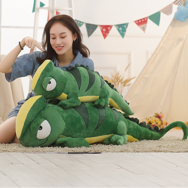 100cm/140cm Simulation Green Chameleon Plush Toy Soft Cartoon Chameleon Stuffed Animal Doll Creative Toys for Boys Kids Presents